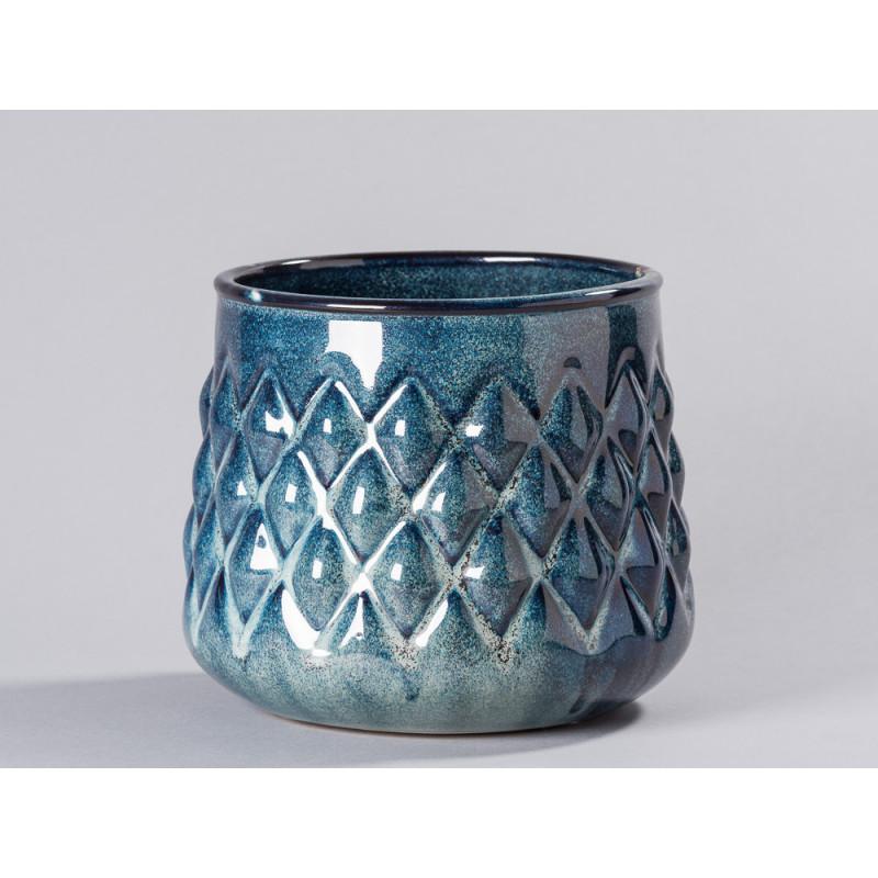 Bloomingville Blumentopf Blau hell Karo Design erhaben 3D Keramik Übertopf Durchmesser 18 cm groß Modern rustikal für Fensterbank