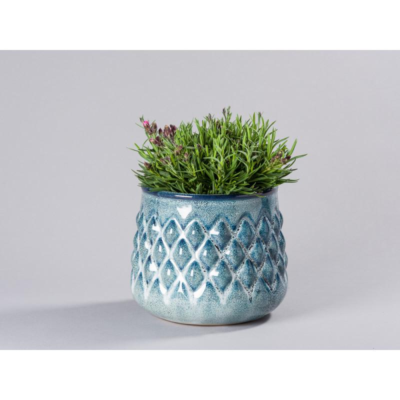 Bloomingville Blumentopf Blau hell Karo Design Übertopf Durchmesser 16 cm Modern rustikal für Fensterbank mit Topfpflanze