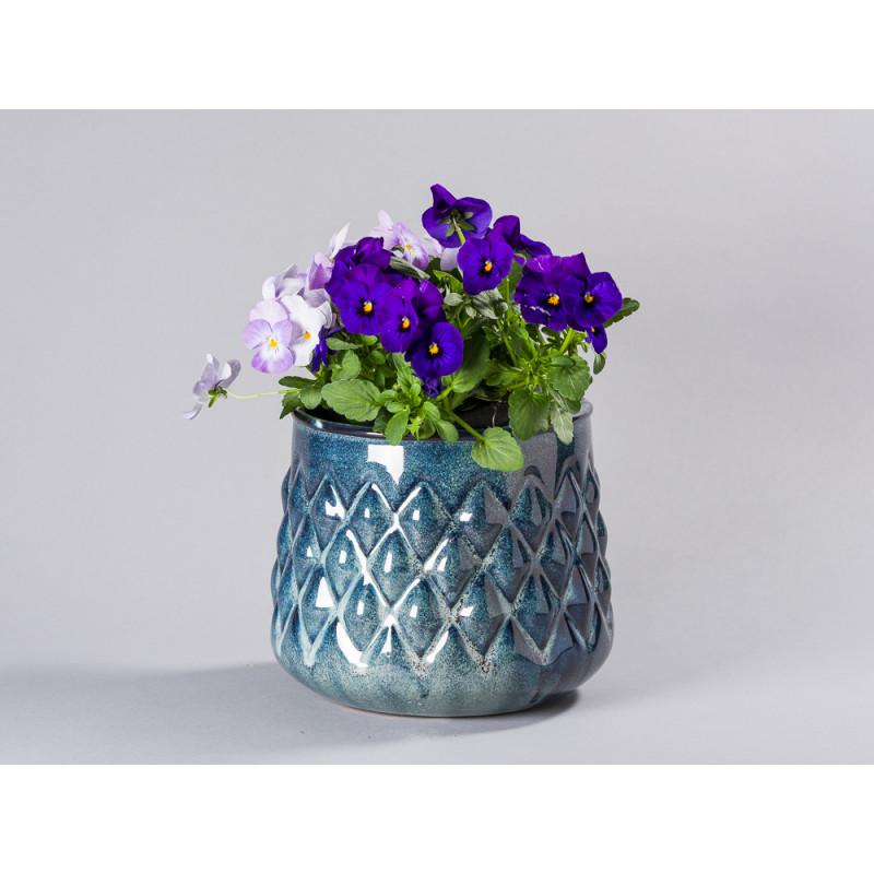 Bloomingville Blumentopf Blau hell Karo Design Übertopf Durchmesser 18 cm groß Modern rustikal für Fensterbank mit Hornveilchen