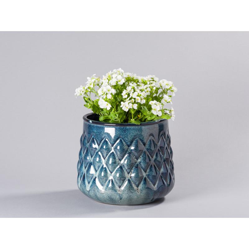 Bloomingville Blumentopf Blau hell Karo Design Übertopf Durchmesser 18 cm groß Modern rustikal für Fensterbank mit Topfpflanze