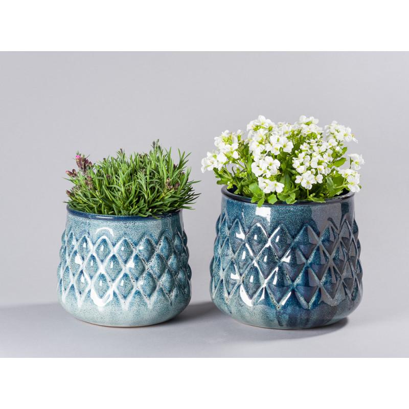 Bloomingville Blumentopf Blau Karo Design erhaben 3D Keramik Übertopf klein und groß Vergleich