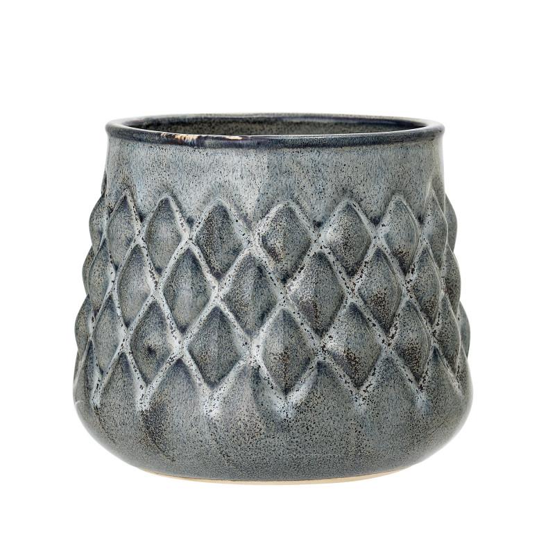 Bloomingville Blumentopf Blau Karo Design Haptik Keramik Übertopf Durchmesser 16 cm
