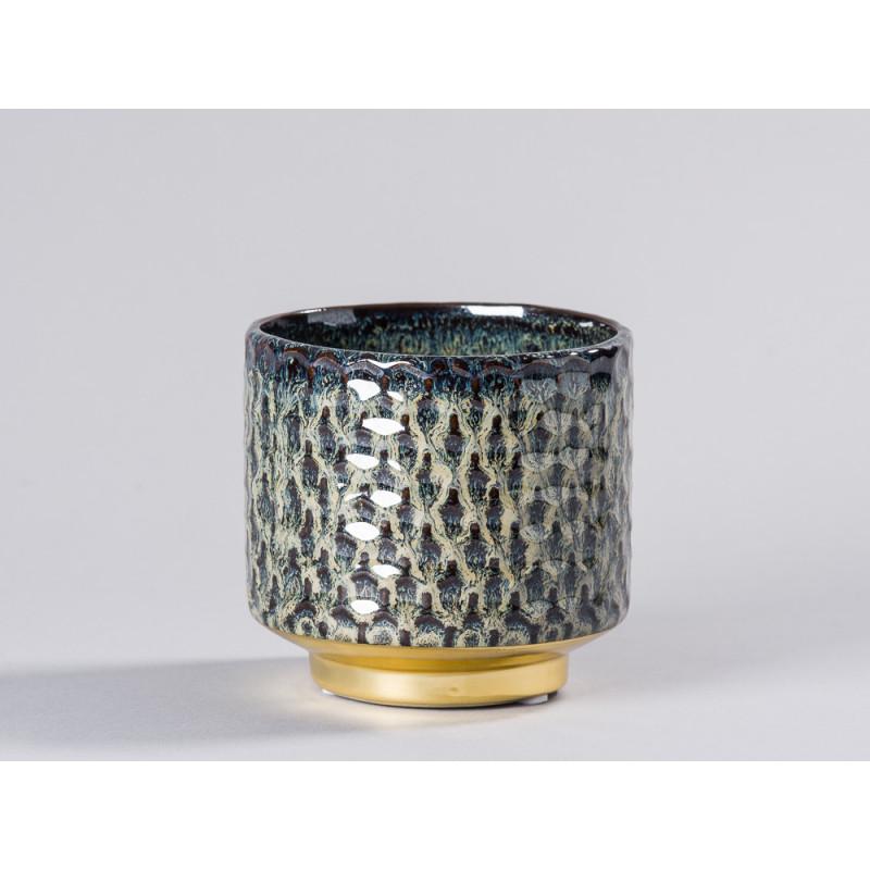 Bloomingville Blumentopf Blau mit Gold Sockel Design Keramik Übertopf Durchmesser 10 cm modern rustikal