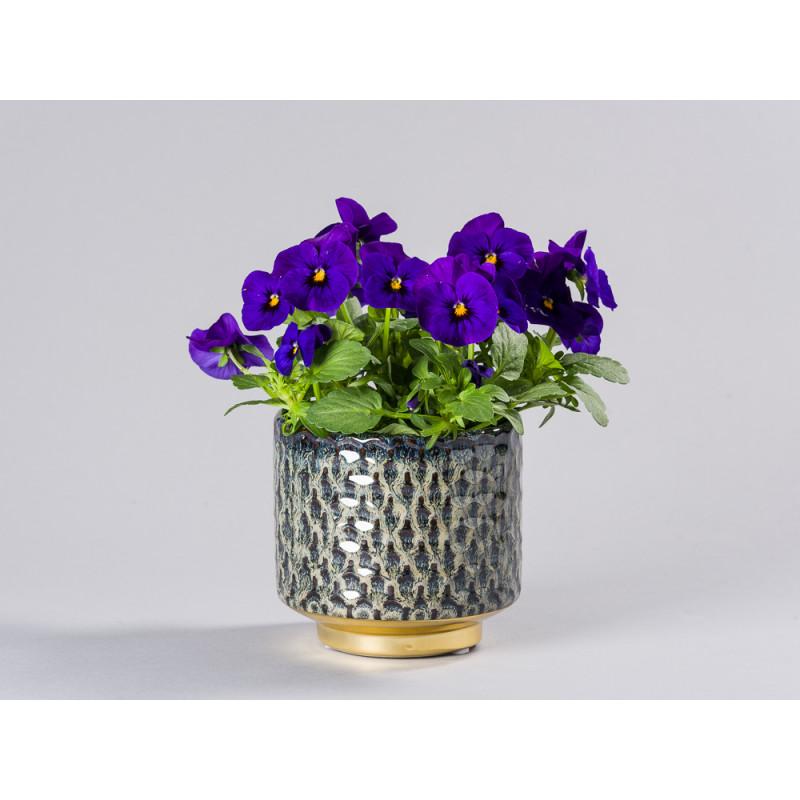 Bloomingville Blumentopf Blau mit Gold Sockel Design Keramik Übertopf Durchmesser mit Blume Hornveilchen