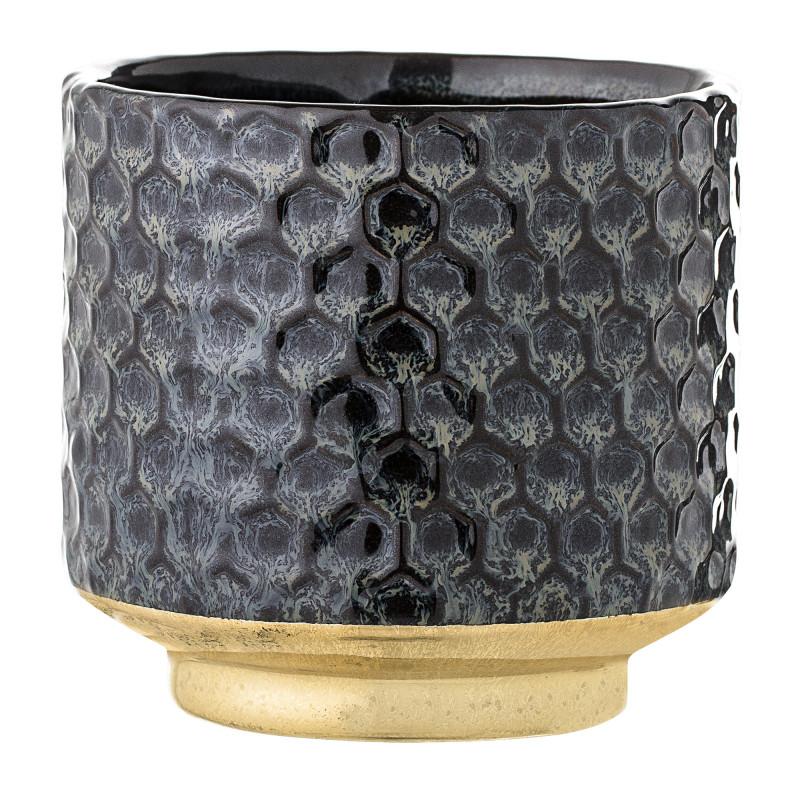 Bloomingville Blumentopf Blau mit Gold Sockel grafisches Design Keramik Übertopf Durchmesser 10 cm