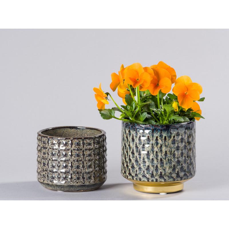 Bloomingville Blumentopf Blau mit Gold Sockel und grau braun Design Keramik Übertopf mit Hornveilchen