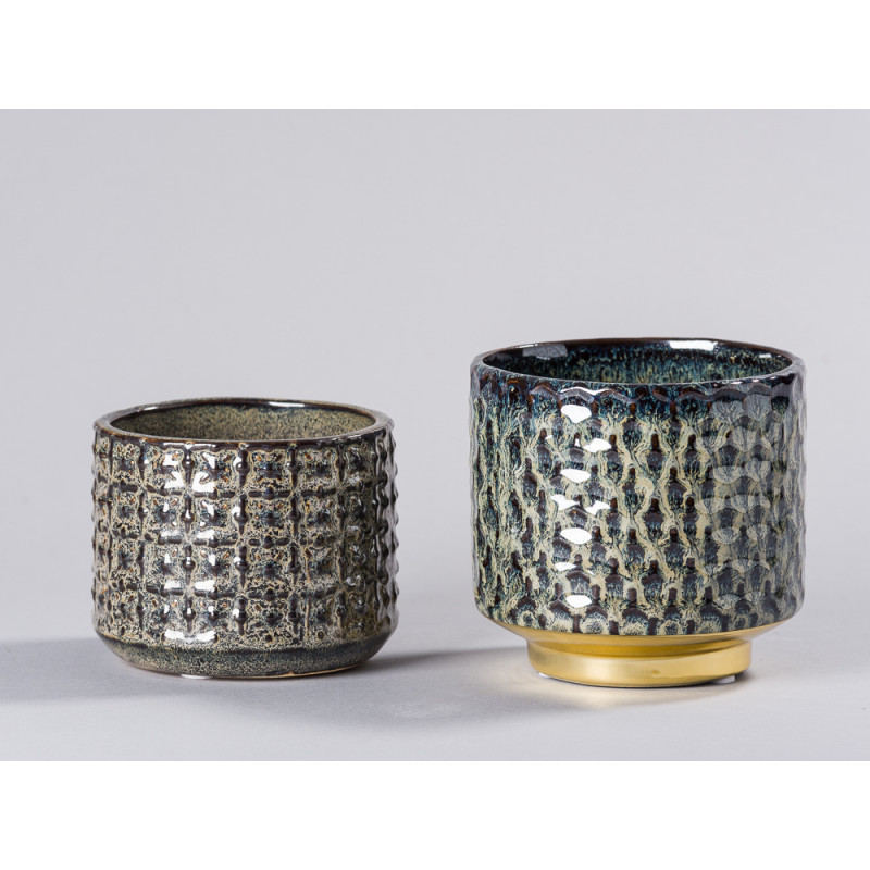 Bloomingville Blumentopf Blau mit Gold Sockel und grau braun Design Keramik Übertopf Vergleich