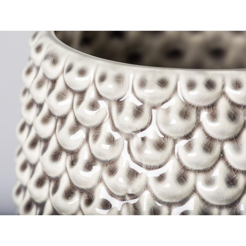 Bloomingville Blumentopf Grau Fächer Struktur erhaben Keramik Tropfen Design Detail