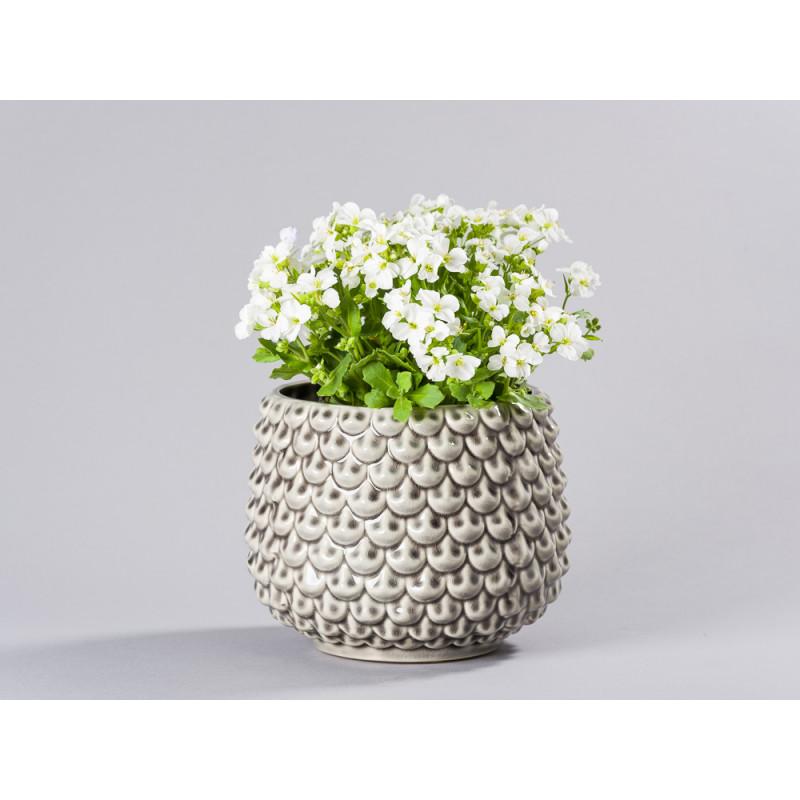 Bloomingville Blumentopf Grau Fächer Struktur erhaben Keramik Übertopf Durchmesser 16 cm Tropfen Design Deko mit Pflanze für Fensterbank