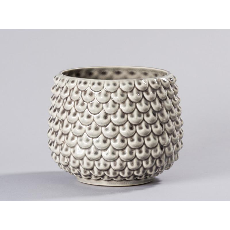 Bloomingville Blumentopf Grau Fächer Struktur erhaben Keramik Übertopf Durchmesser 16 cm Tropfen Design Deko