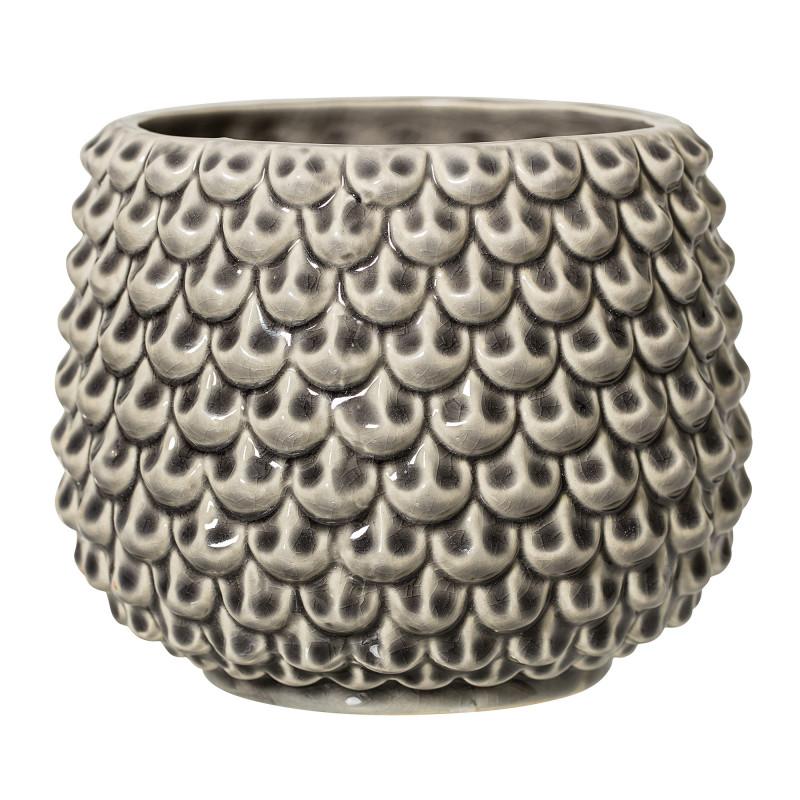 Bloomingville Blumentopf Grau Fächer Struktur Keramik Übertopf Durchmesser 16 cm Tropfen Design