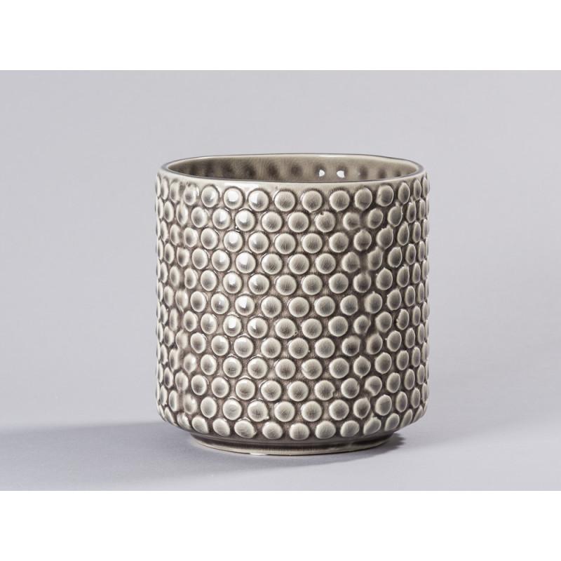 Bloomingville Blumentopf Grau mit haptischem Punkte Dekor Keramik Übertopf für Fensterbank gerade form Durchmesser 15 cm