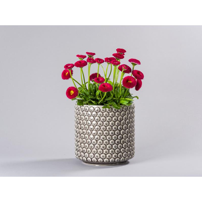 Bloomingville Blumentopf Grau mit haptischem Punkte Dekor Keramik Uebertopf fuer Fensterbank mit Topfpflanze Bellies