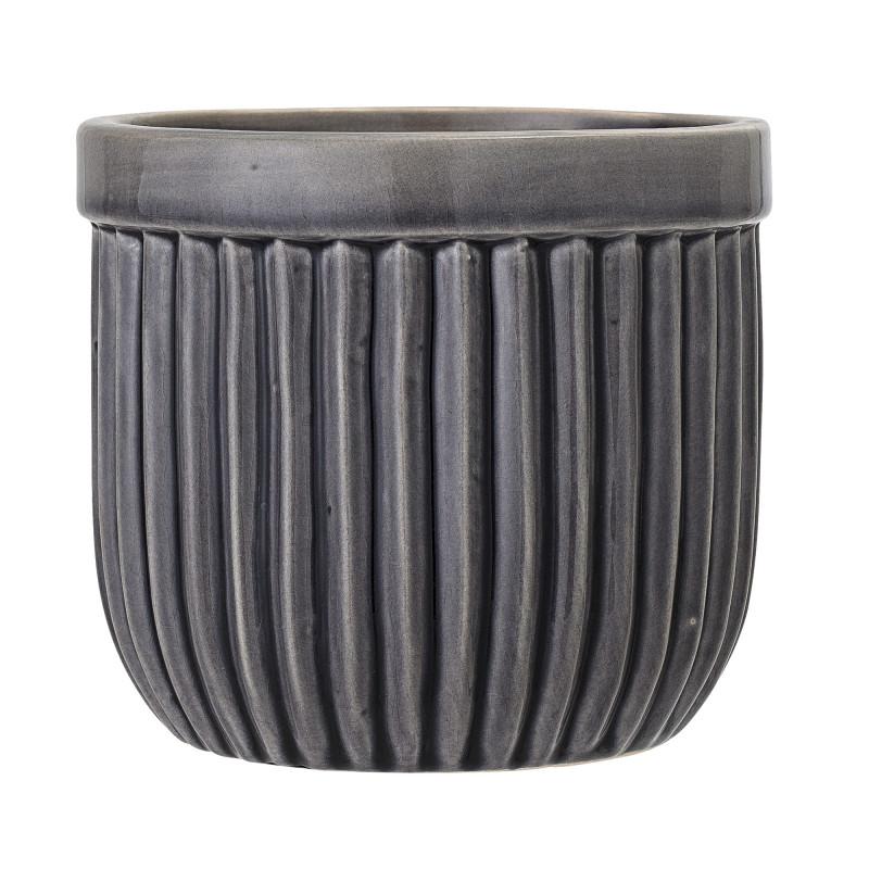Bloomingville Blumentopf Grau mit Rillen Struktur Keramik Übertopf Durchmesser 24,5 cm mit vertikalen Streifen