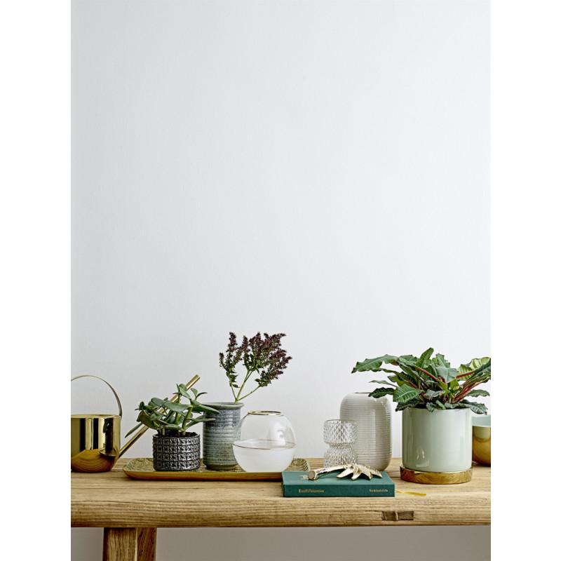 Bloomingville Blumentopf Grau mit Struktur aus Vierecken und Blumen Keramik Übertopf Dekoidee