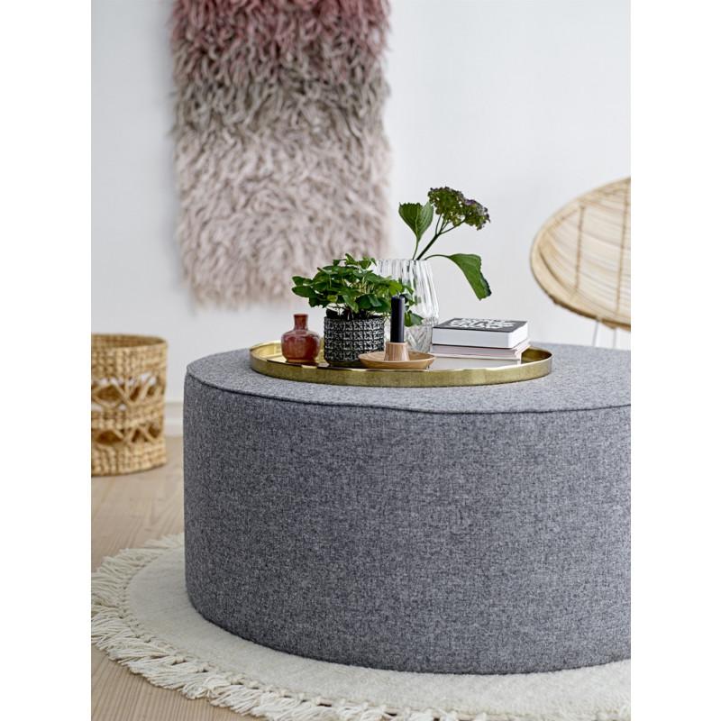 Bloomingville Blumentopf Grau mit Struktur aus Vierecken und Blumen Keramik Übertopf moderne Deko auf Pouf und Tablett