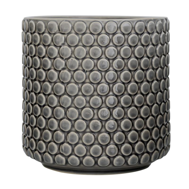 Bloomingville Blumentopf Grau mit haptischem Punkte Dekor Keramik Übertopf gerade form Durchmesser 15 cm