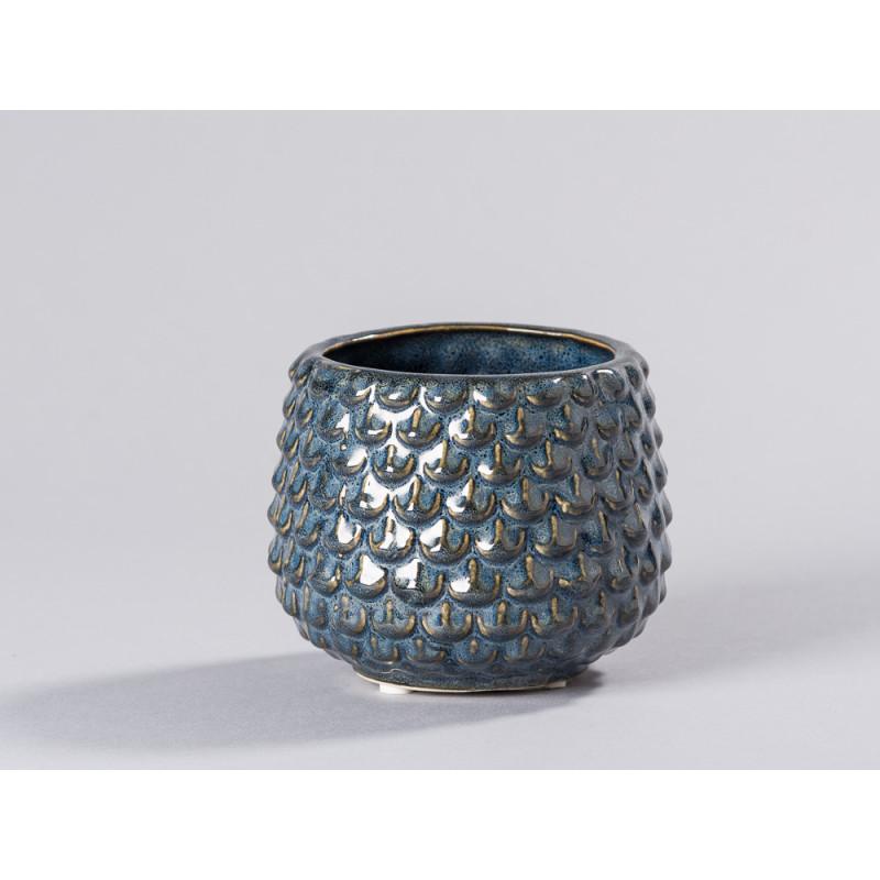 Bloomingville Blumentopf Grau Tropfen erhaben Struktur Keramik Übertopf Durchmesser 10 cm modern Deko Fensterbank