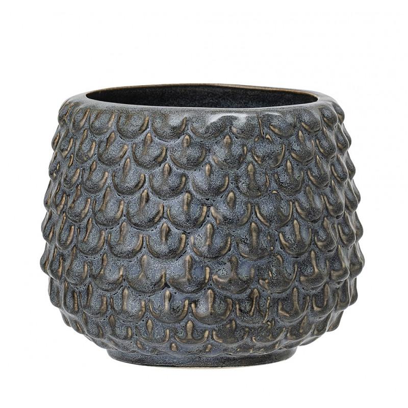 Bloomingville Blumentopf Grau Tropfen Struktur Keramik Übertopf Durchmesser 10 cm