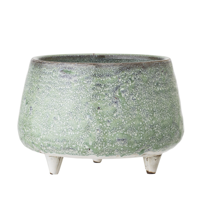 Bloomingville Blumentopf Grün aus Keramik Topf mit Füssen Durchmesser 14 cm