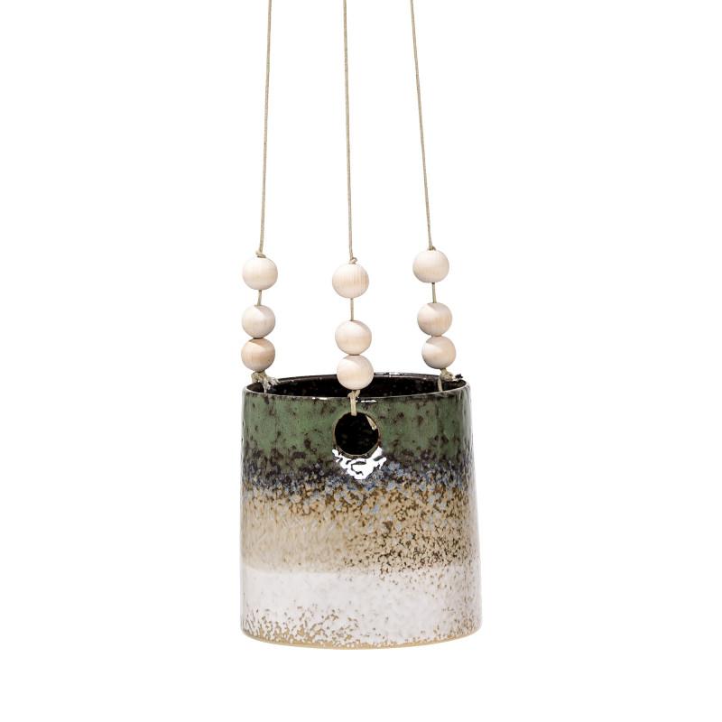 Bloomingville Blumentopf Hänger 3 farbig mit Streifen in grün sand und creme weiß Bänder mit Holz Kugeln zum Aufhängen Übertopf aus Keramik 12 cm