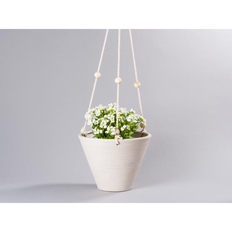 Bloomingville Blumentopf Hänger groß weiß Grau natur Bänder mit Kugeln aus Holz Übertopf zum Aufhängen aus Keramik 21 cm konische hängend