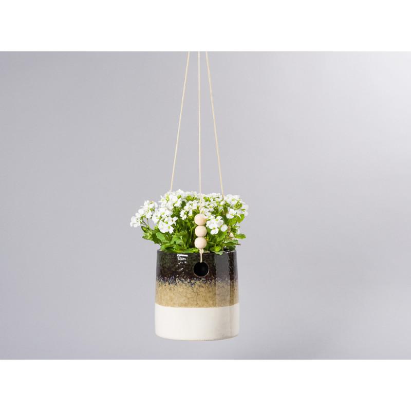 Bloomingville-Blumentopf-Haenger-mit-Streifen-in-grün-sand-und-creme-weiß-Bänder-mit-Holz-Kugeln-zum-Aufhängen-Übertopf-aus-Keramik-12-cm-hoch-hängend-mit-Pflanze-für-Balkon