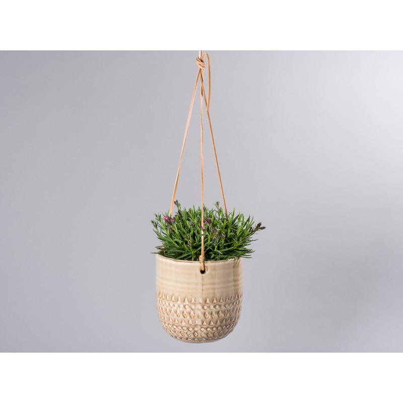 Bloomingville Blumentopf Hänger Natur mit Leder Bändern zum Aufhängen mit Topfpflanze für Balkon