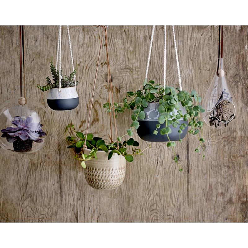 Bloomingville Blumentopf Hänger Schwarz Grau mit natur farbig geflochtenen Bändern zum Aufhängen Übertopf aus Keramik Deko
