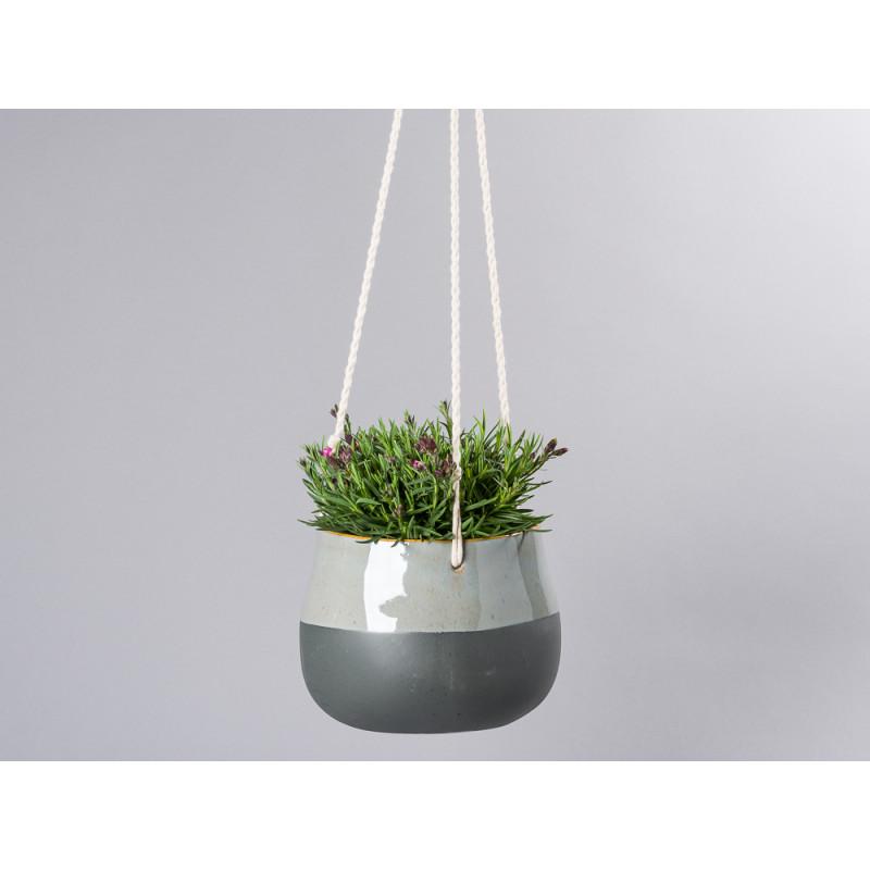 Bloomingville Blumentopf Hänger Schwarz Grau mit natur geflochtenen Bändern zum Aufhängen Übertopf aus Keramik 18 cm Balkon mit Topfpflanze