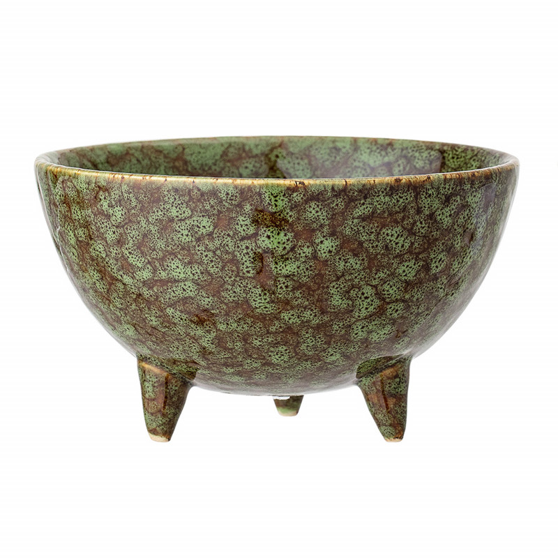 Bloomingville Blumentopf mit Füssen Grün Braun 12,5 cm Keramik Übertopf Höhe 7 cm Bloomingville Produkt Nummer 82045654