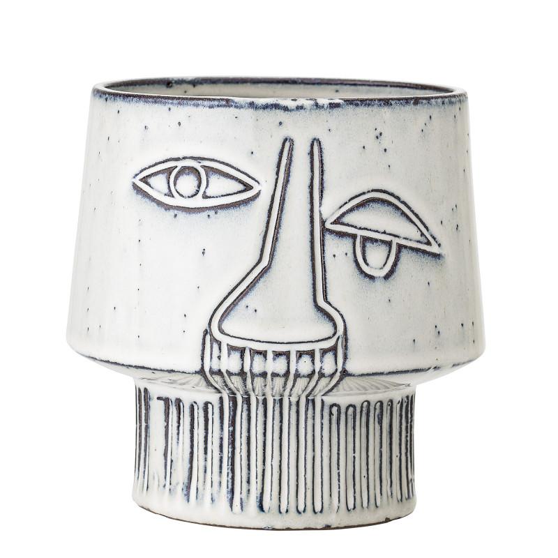 Bloomingville Blumentopf mit Gesicht Weiß Art Design Face aus Keramik Topf Durchmesser 15 cm