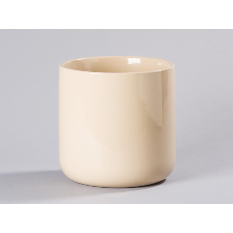 Bloomingville Blumentopf Natur Beige mit Untersetzer Gold schlicht Keramik Übertopf Solo