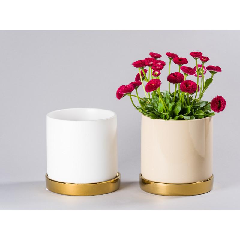 Bloomingville Blumentopf Natur Beige und Weiß mit Untersetzer Gold schlicht Keramik Übertopf Durchmesser 15 cm Pflanze