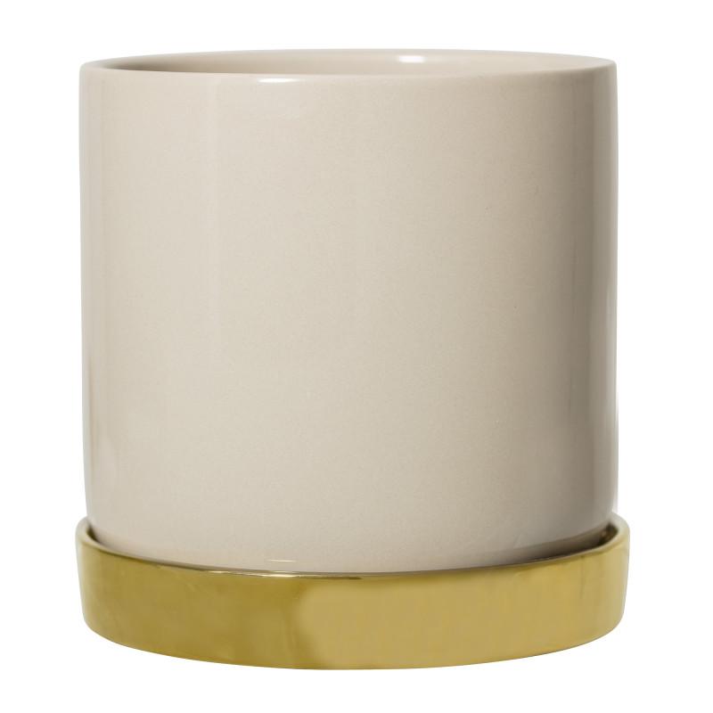 Bloomingville Blumentopf Natur mit Untersetzer Gold Keramik Übertopf Durchmesser 15 cm