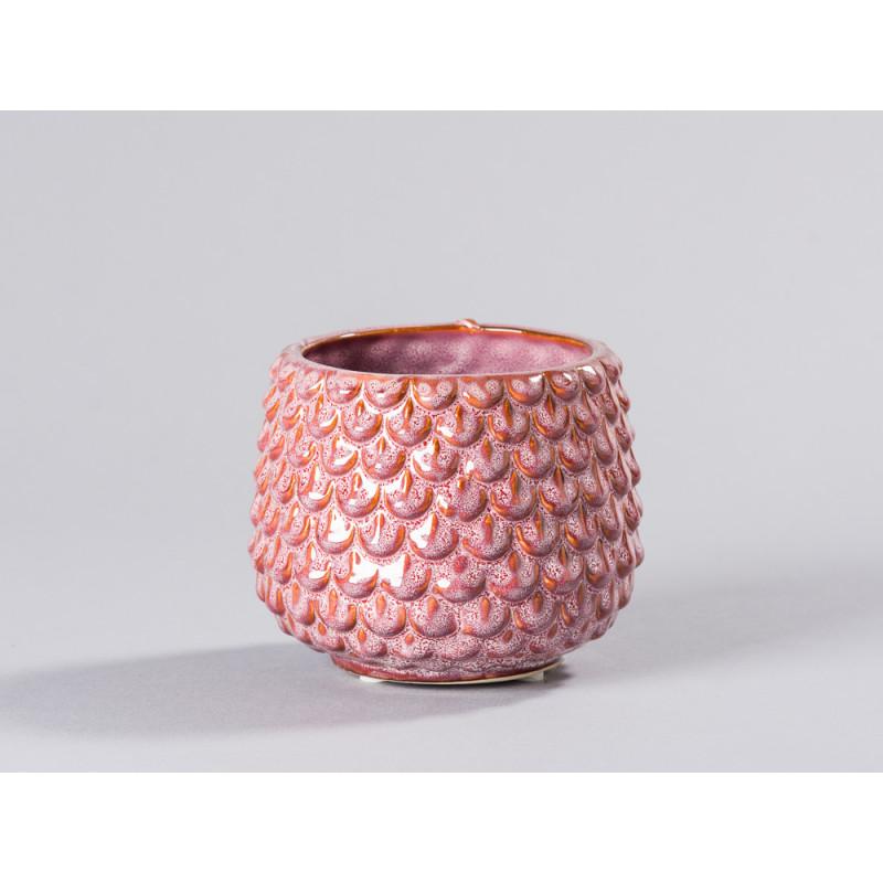 Bloomingville Blumentopf Rot Tropfen 3D Struktur Keramik Übertopf Durchmesser 95 mm Deko Fensterbank