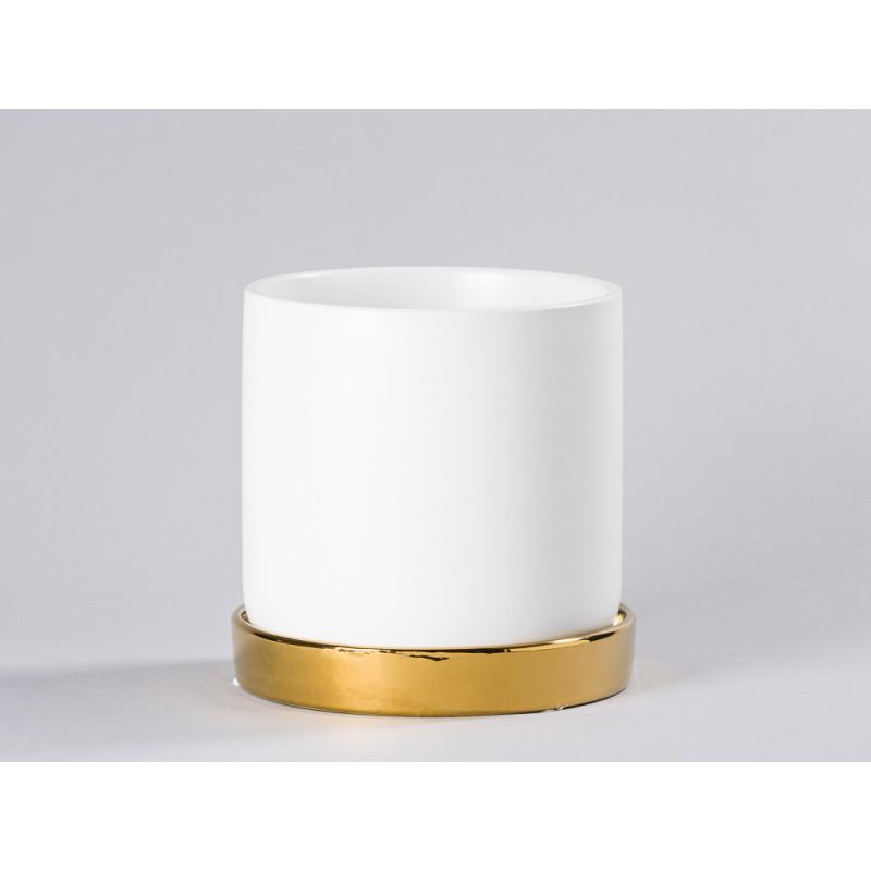 Bloomingville Blumentopf Weiß mit Untersetzer Gold schlicht Keramik Übertopf Durchmesser 15 cm für Fensterbank Deko