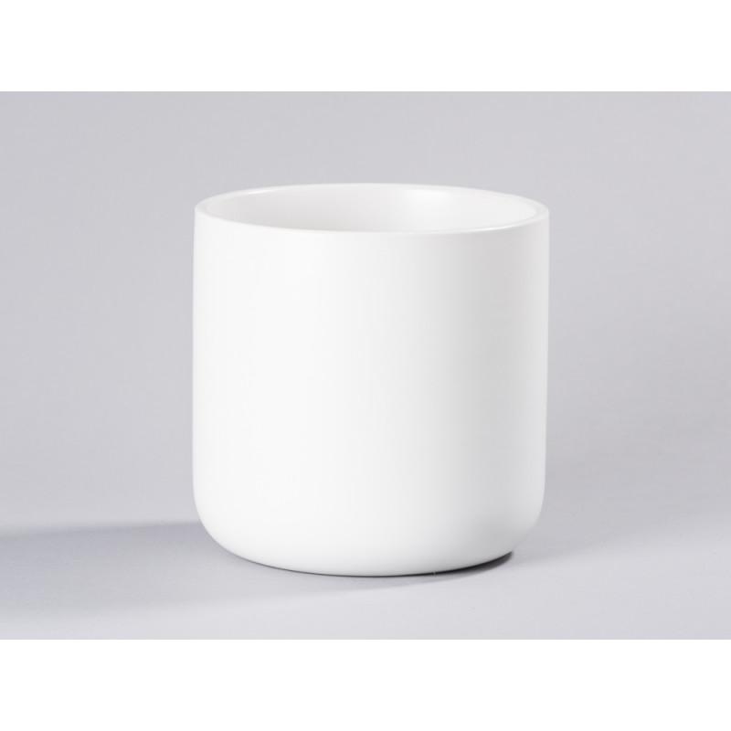 Bloomingville Blumentopf Weiß mit Untersetzer Gold schlicht Keramik Übertopf Solo