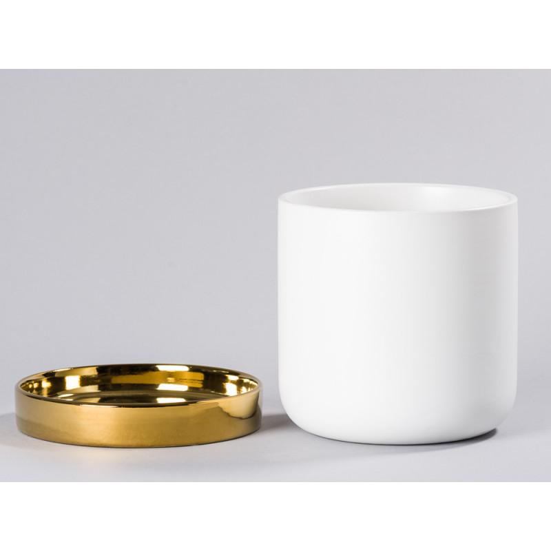 Bloomingville Blumentopf Weiß mit Untersetzer Gold schlichtes Design edel getrennt