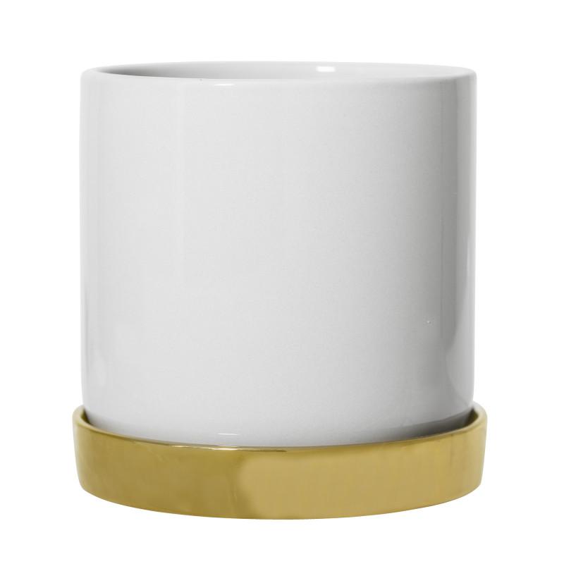 Bloomingville Blumentopf Weiß mit Untersetzer Gold Keramik Übertopf Durchmesser 15 cm