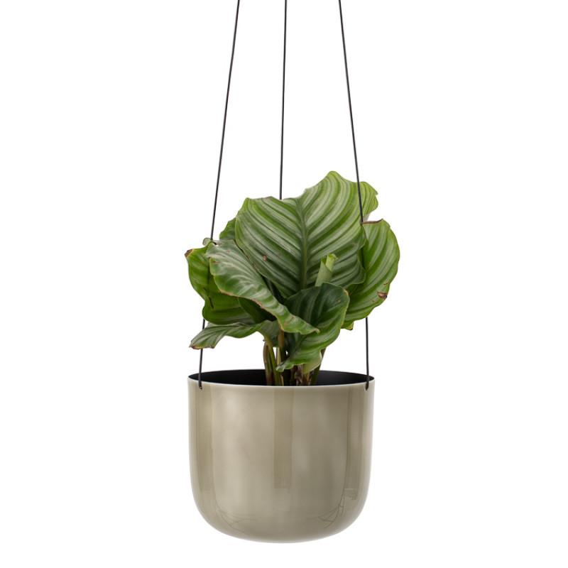 Bloomingville Blumentopf zum Hängen Metall Grün mit Pflanze