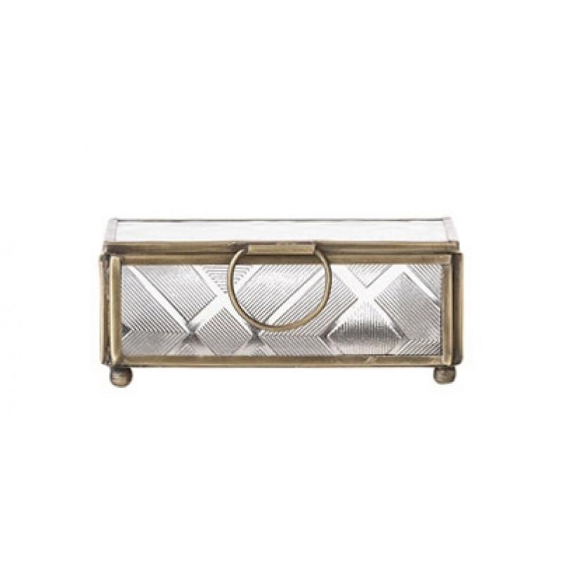 Bloomingville Box mit Deckel aus Glas mit Messing Rahmen klein