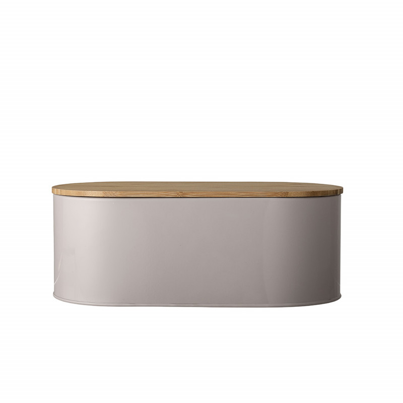 Bloomingville Brotkasten braun oval aus Metall mit Deckel 33 cm aus Bambus Holz