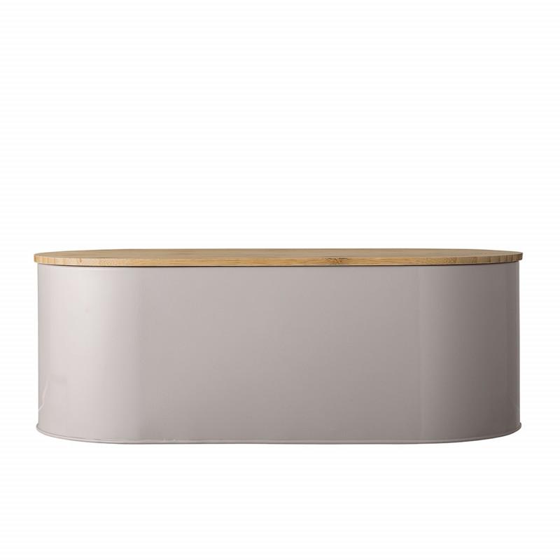 Bloomingville Brotkasten braun oval aus Metall mit Deckel 43 cm aus Bambus Holz