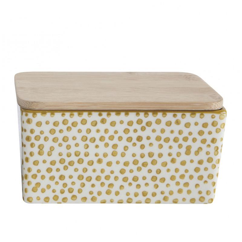 Bloomingville Butterdose Keramik gelb weiß mit Deckel aus Bambus Holz