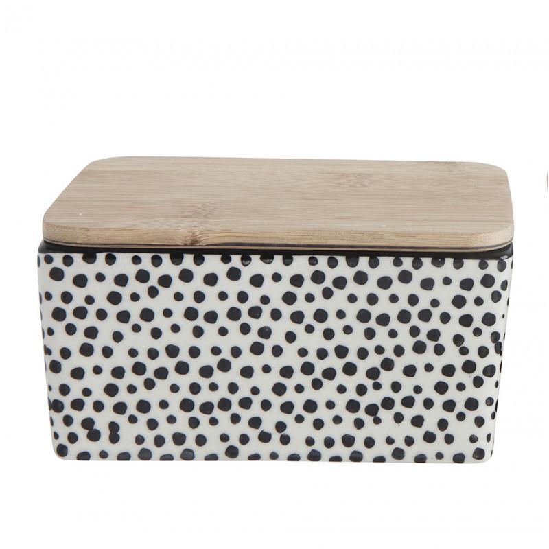 Bloomingville Butterdose Keramik schwarz weiß mit Deckel aus Bambus Holz