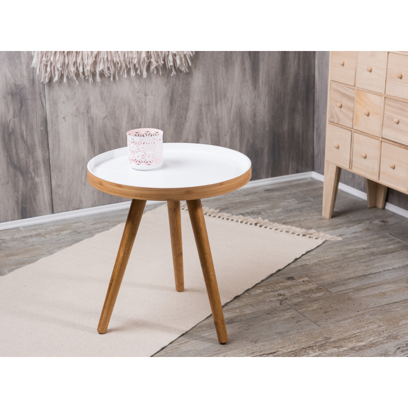 bloomingville cappuccino coffee table beistelltisch klein aus bambus holz mit wei 40 cm. Black Bedroom Furniture Sets. Home Design Ideas