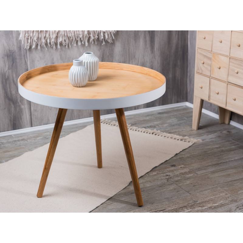 bloomingville cappuccino coffee table beistelltisch klein aus bambus holz mit wei 60 cm. Black Bedroom Furniture Sets. Home Design Ideas