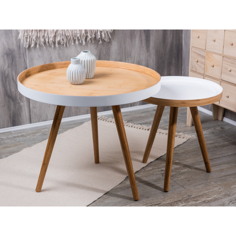 bloomingville cappuccino coffee tables beistelltische aus bambus holz mit wei 2er tisch set. Black Bedroom Furniture Sets. Home Design Ideas
