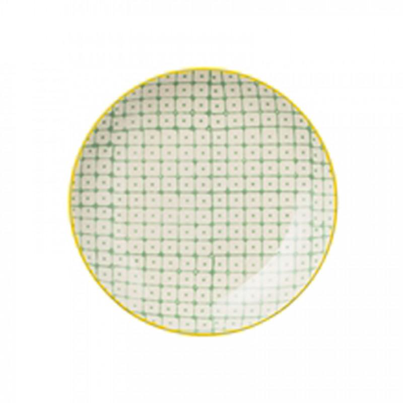 bloomingville carla plate teller carla aus keramik kleiner teller in gr n mit gelb farbigem. Black Bedroom Furniture Sets. Home Design Ideas